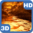 Glitter River on Golden Sunset Landscape Android Personalization 3D Live Wallpaper download from piedlove.com