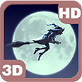 Funny Witch Moon Sky Flight Android Personalization 3D Live Wallpaper download from piedlove.com
