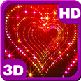 Sparkle glitter heart tunnel Deluxe HD Edition 3D Live Wallpaper