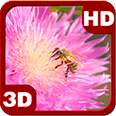 Happy Bee on a Pink Clover Flower Android Personalization 3D Live Wallpaper download from piedlove.com