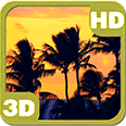 Sunset Palm Beach Silhouette Deluxe HD Edition 3D Live Wallpaper